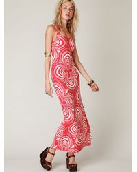 Free People - Red Printed Slinky Knit Dress - Lyst