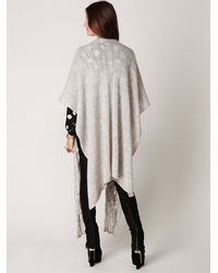 Free People | Natural Long Cable Cape | Lyst