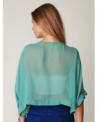 Free People | Blue 2-pocket Sheer Crop Top | Lyst