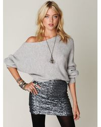 Free People | Gray Easy Days Off The Shoulder Sweater | Lyst