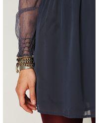 Free People - Blue Vintage Lace Long Sleeve Dress - Lyst