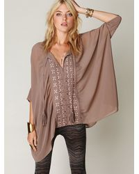 Free People | Brown Embroidered Kaftan | Lyst
