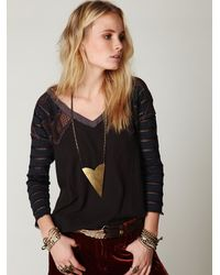 Free People | Black Warrior Chief Crochet Back Top | Lyst