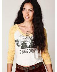 Free People - White Freedom Baseball Tee - Lyst