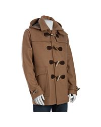 Gucci | Natural Beige Wool Leather Toggle Coat with Detachable Hood for Men | Lyst