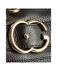 Gucci - Black Leather Ride Zip Top Logo Buckle Shoulder Bag - Lyst