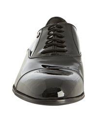 Gucci - Black Patent Leather Cap Toe Oxfords for Men - Lyst