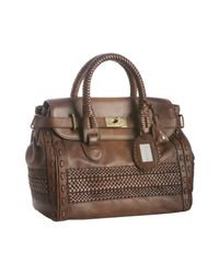 Gucci | Brown Woven Leather Handmade Large Top Handle Bag | Lyst