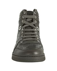 Gucci | Green Military Gg Imprimé High-top Logo Sneakers | Lyst