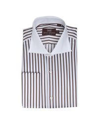 Hickey Freeman | Brown Striped Cotton French Cuff Spread Collar Dress Shirt for Men | Lyst