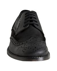 Kenneth Cole - Black Leather and Suede Hurry Think Distressed Wingtip Oxfords for Men - Lyst