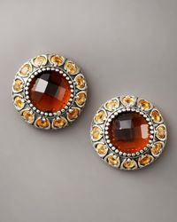 Konstantino - Brown Cognac Quartz Stud Earrings - Lyst