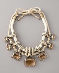 Lanvin | White Pave Crystal & Rope Necklace | Lyst