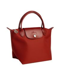 Longchamp | Red Braise Coated Nylon Planetes Mini Tote | Lyst