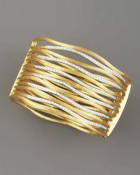 Marco Bicego - Metallic Diamond & Brushed Gold Cuff - Lyst