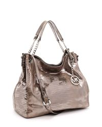 Michael Kors | Gray Large Jet Set Chain Metallic Gathered Shoulder Tote, Nickel Lizard | Lyst