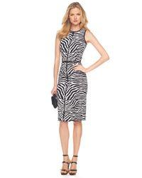 Michael Kors - Black Zebra-print Sheath Dress - Lyst