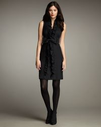 MILLY | Black Dani Ruffled Bow-waist Dress | Lyst