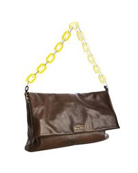 Miu Miu | Brown Leather Plastic Chain Foldover Shoulder Bag | Lyst