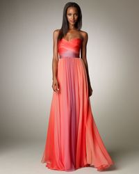 Monique Lhuillier   Pink Ombre Ruched Gown   Lyst
