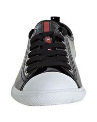 Prada | Sport Black Patent Leather Cap Toe Sneakers | Lyst