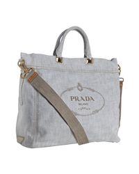 Prada | White Denim Logo Print Tote Bag | Lyst