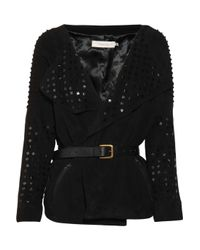 Preen Line - Black Studded Suede Belted Jacket - Lyst