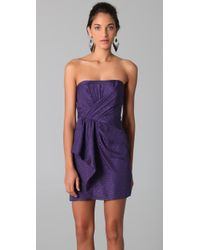 Shoshanna | Purple Draped Strapless Dress | Lyst