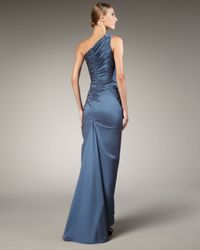 Tadashi Shoji - Blue One-shoulder Taffeta Mermaid Gown - Lyst