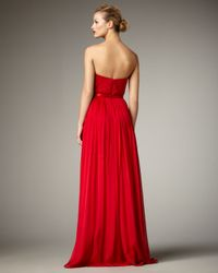 THEIA - Red Silver-bib Strapless Gown - Lyst