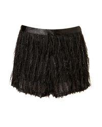 TOPSHOP | Black Lurex Fringe Shorts | Lyst