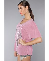 Wildfox - The Amulet Chain Oversize V Neck Tee in Neon Pink - Lyst