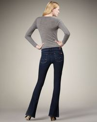 7 For All Mankind | Blue Kaylie Dazzling Drake Crystal-pocket Slim Boot-cut Jeans | Lyst