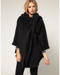 ASOS Collection | Black Asos Maternity Hood and Scarf Oversize Coat | Lyst