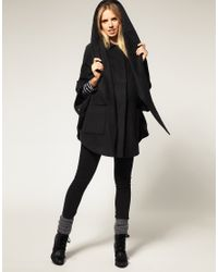 ASOS Collection - Black Asos Maternity Hood and Scarf Oversize Coat - Lyst