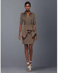 BCBGMAXAZRIA - Brown Harrison Draped-front Shirt Dress - Lyst