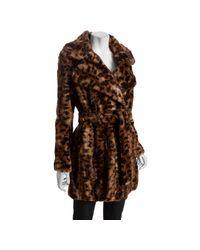 Calvin Klein | Multicolor Brown Leopard Faux Fur Tie Waist Coat | Lyst