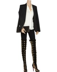 Christian Louboutin | Black Lola Montes 140 Cutout Suede Thigh Boots | Lyst