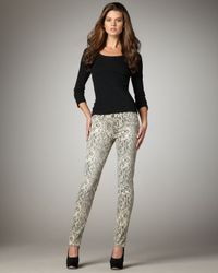 Current/Elliott | Gray Boa-print Skinny Jeans, Canvas | Lyst