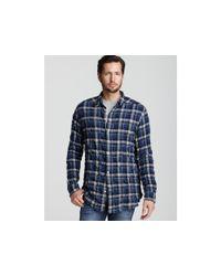 Edun | Blue Herringbone Plaid Classic Fit Sport Shirt for Men | Lyst