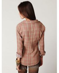 Free People | Brown Plaid Button Down with Gingham Top | Lyst