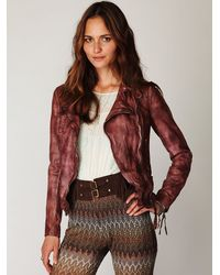 Free People | Purple Vintage Wine Leather Biker Jacket | Lyst