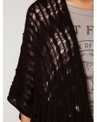 Free People | Red Long Cable Cape | Lyst
