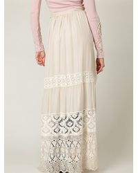 Free People | White Demure Lace Maxi Skirt | Lyst
