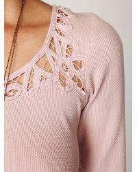 Free People | Pink Battenburg Lace Dress | Lyst