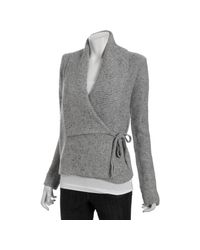 French Connection - Gray Light Grey Melange Wool Blend Autumn Walk Wrap Cardigan Sweater - Lyst