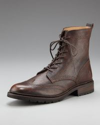 Frye | Brown James Lug Wing-tip Boot for Men | Lyst