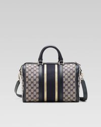 Gucci | Gray Vintage Web Medium Boston Bag | Lyst