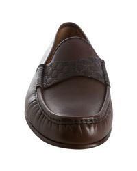 Gucci - Brown Leather Ssima Strap Penny Loafers for Men - Lyst