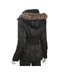 Laundry by Shelli Segal - Black Sateen Zip Front Cinched Waist Down Jacket - Lyst